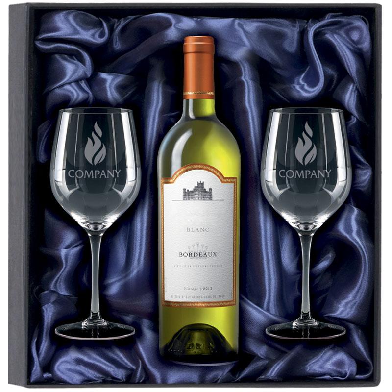 750ml White Wine & 2 Glasses Gift