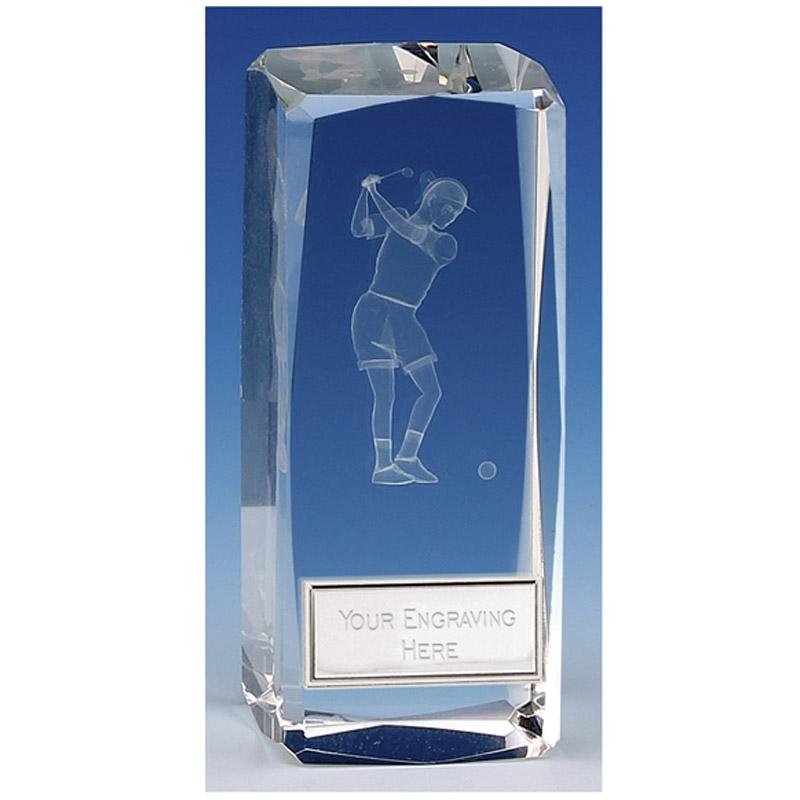Clarity Female Golfer Crystal Block